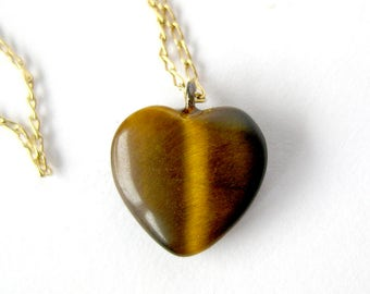 Vintage Tigereye Heart Pendant / Gold Filled / Dainty Tigereye Pendant - Browns & Golds / Cats Eye Stone / Valentine Gift / Gift for Girl