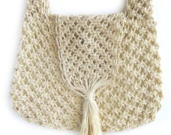 1970s Boho Macrame Bag / Woven Jute Handbag or Shoulder Bag with Fringe / Festival Bag / Dimensions Hand Made in Columbia