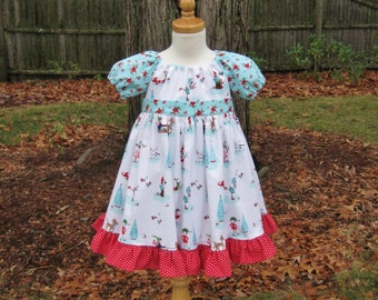 Christmas dress size 2T Peasant dress Red and aqua Ready to ship Whimsical pixies Woodland animals Poinsettias Twirly dress Long dress OOAK