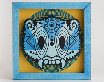 Screenprinted Ceremonial Mask - Blue