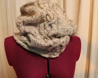 Hand knit cabled cowl, 100% wool