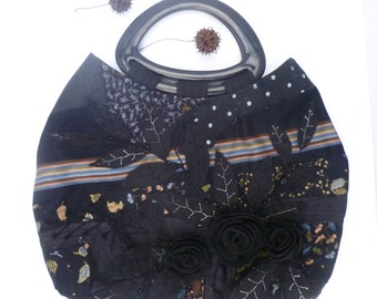 Black floral purse, fiber art fabric collage, felt flowers, bohemian floral statement handle bag, embroidery, up cycled