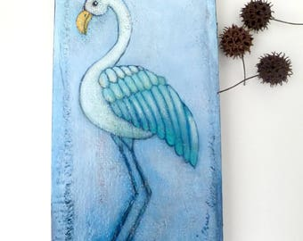 Blue bird I original mixed media artwork, home decor, collectible art on cradled wood panel 12 x 6, blue
