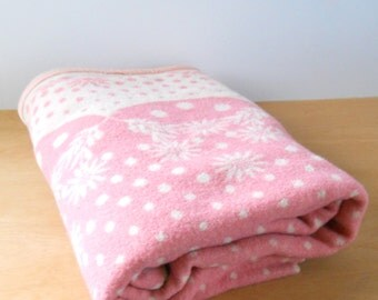 Vintage Wool Blanket • Pink and Ivory Polk a Dot and Flower