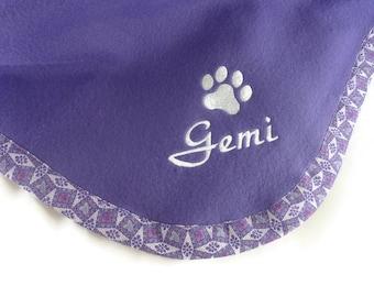 Pet Blanket.Personalized Pet Blanket. Dog Blanket. Cat Blanket. Fleece Pet Blanket. Purple Pet Blanket