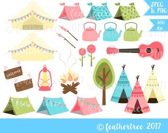 Digital Clipart - Camping, Glamping, Festival, Summer, Tent, Teepee - 300dpi JPEG and PNG - Instant Download
