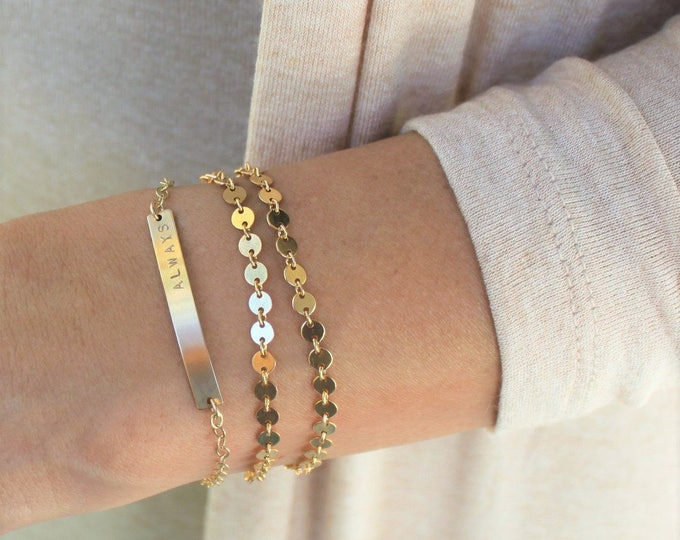 Featured listing image: DAINTY Personalized Bracelet, Silver, Rose or Gold Bar Bracelet, Personalized Jewelry, Custom Name Bracelet, B35C10, The Silver Wren