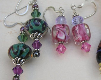 Two Pairs Sterling Art Glass Lampwork Glass Crystal Earrings 925