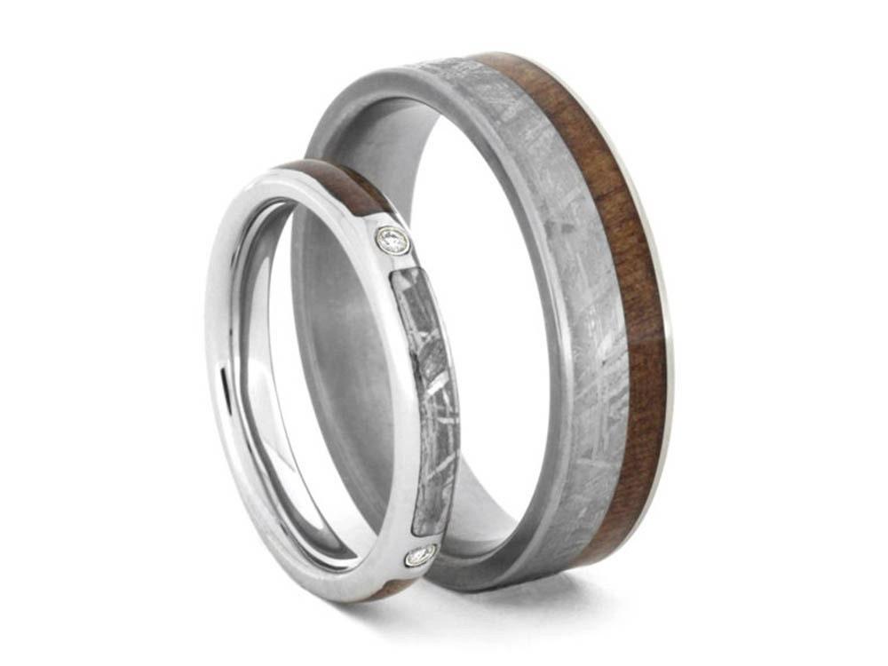 Meteorite wedding ring set women39s diamond engagement for Wedding band engagement ring order