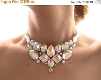 ON SALE Simple Crystal AB Rhinestone Bib Necklace, Small Jeweled Bib, Clear Ab Necklace