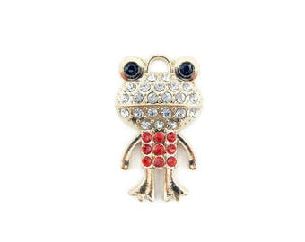 Small Gold-tone Frog Pendant Rhinestone Encrusted