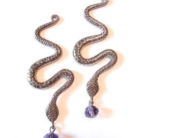 Pair of Hematite-tone Snake Charms with Purple Amethyst Glass Drop