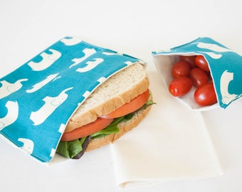 PLASTIC-FREE Blue Elephants Sandwich and Snack Bags, Reusable, Organic Cotton, Eco Friendly - Set of 2