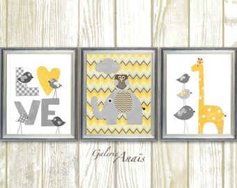 Grey yellow chevron Nursery art baby nursery decor nursery wall art Kids art bird owl Love elephant giraffe Set of 3 Prints