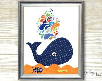 Whale Nursery art prints - baby nursery decor - bathroom wall art nursery - kids art - Whale - navy blue - orange - ocean