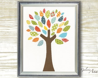 Kids wall art baby boy nursery decor Kids Art Nursery Art playroom art woodland nursery tree nursery blue orange green  -Tree Of Colors