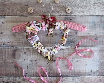 Pink heart, willow heart,fabric Wreath heart, wedding gift, wedding favour, bridal shower, baby girl room decor, home decor, pink room,