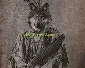 30off Wolf Artwork 5x7 - Chief Running Wolf - Wolf Art - Wolf Print - Wolf Picture - Wolf Poster - Wolf Photograph