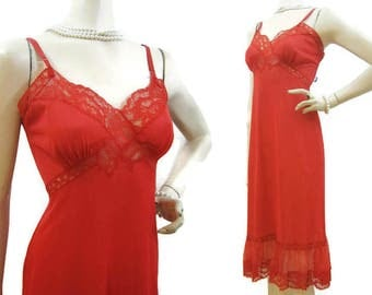 Vintage 50s 60s Full Slip RED Nylon and Lace 32 Gotham