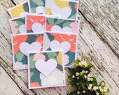 Retro Floral Mini Heart Cards Set