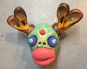 Ceramic deer head, wall hanging, faux taxidermy