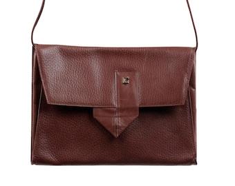 VINTAGE Brown Leather Small Flat SHOULDER BAG Flap Purse messenger