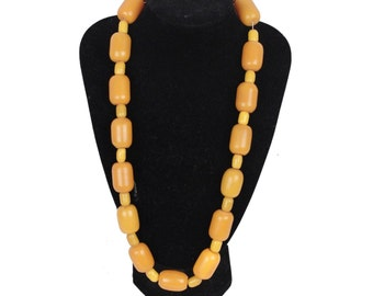 VINTAGE Orange and Yellow Amber-look Beads NECKLACE