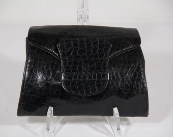 VINTAGE Italian Black EMBOSSED Leather CLUTCH Purse handbag waist purse bag