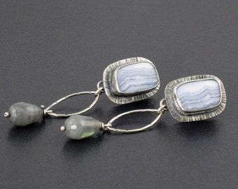 Blue Lace Agate Labradorite Earrings, blue gray earrings, labradorite earrings, boho, bohemian, sterling silver,post earrings, michele grady