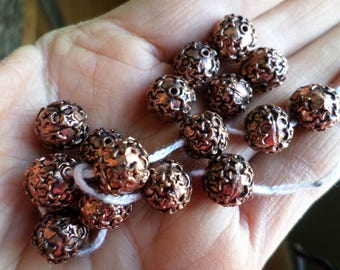 10mm Copper Beads with Stars