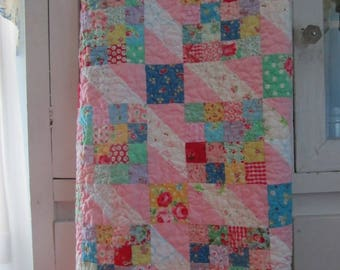 Scrappy Sweet Baby Girl, Toddler or Crib Quilt