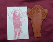 Steampunk Child With Wings / Unmounted Rubber Stamp / Collage Look