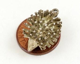 Vintage Hedgehog Charm Pendant, Sterling Silver