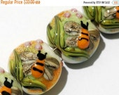 ON SALE 45% OFF Glass Lampwork Bead Set - Four Bumble Bee Garden Lentil Beads 11007312