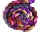 Finn Wool Roving - Hand Painted Spinning or Felting Fiber, Plum Chocolate