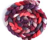 Merino/ Silk Roving (Top) - Handpainted Spinning or Felting Fiber, Beat of my Heart