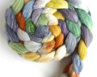 Merino/ Superwash Merino/ Silk Roving (Top) - Handpainted Spinning or Felting Fiber, Intimations