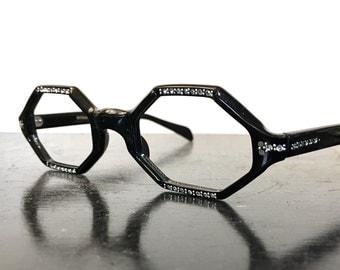 60's French NOS Made in France Octagon 8 Sided Eyewear Eyeglass Frames Black Rhinestone