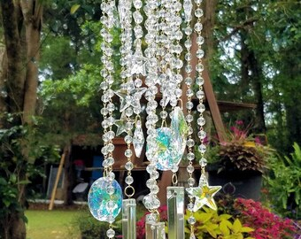 Star Studded Antique Crystal Wind Chime, Stars Wind Chime, Celestial Crystal Wind Chime, Stars Sun Catcher, Garden Decoration, Stars Mobile