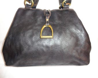 Lauren Ralph Lauren thick rugged genuine leather SMALL satchel, bag, purse, dual strap small tote vintage early 80 s