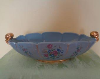 """Vintage Abingdon Pottery 14"""" Oval Centerpiece Console Bowl 1940's Floral Sides Gold Trim"""