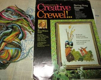 Vintage Columbia Minerva Creative Erica Wilson Spring Song Sampler 7213 Creative Crewel Kit