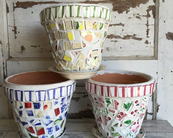 Broken China Mosaic Flower Pot - 8 Inch Choice Red Cherries or Green Yellow