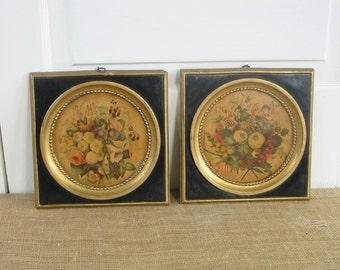 Vintage Pair Floral Prints, Shabby Cottage Chic Flowers, Black Florals, Floral Plaques, Flower Art Plaques, Round Floral Prints, Flowers
