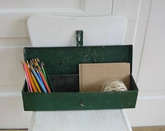 Vintage Green Metal Box, Industrial Box, Industrial Storage, Vintage Green Box, Metal Tackle Box, Metal Tool Box, Green Tool Box, Green