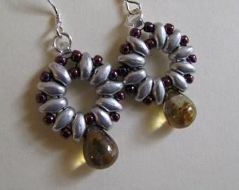 Superduo Earrings, Silver and Tortoiseshell Teardrop Earrings, Amber Brown Superduo and Sterling Silver Earrings,  Beaded Earrings