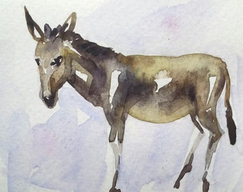 original watercolor painting ACEO donkey animal  ,2.5x3.5 inches