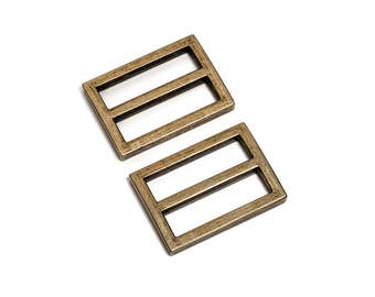 "10pcs - 1 1/4"" (32mm) Flat Diecast Slide Buckle - Antique Brass - (FBK-114) - Free Shipping"