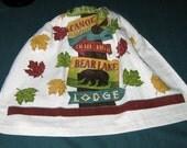 Crochet Kitchen Hanging Towel, Camp Signs, Ritz design Brown top