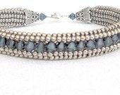 Blue crystal bracelet swarovski crystal bracelet blue beaded jewelry boho bracelet seed bead bracelet